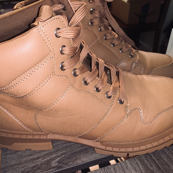 Brown Faux Leather Combat Boots